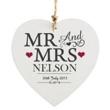 Mr & Mrs Wooden Heart Decoration